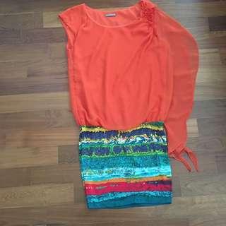 Orange tunic dress #FEBP55