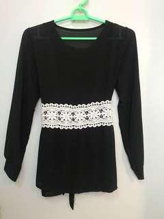 Peplum Blouse Black