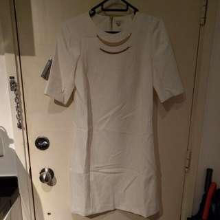 River island white dress with metal necklace detail