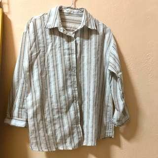 Stripped button up Top