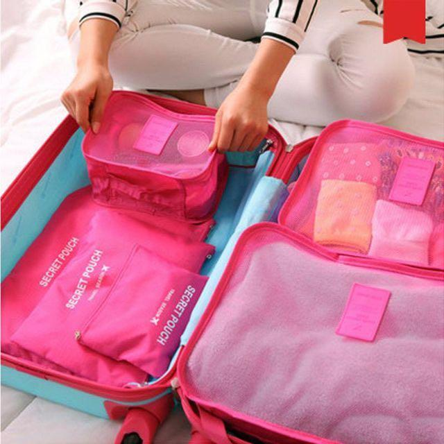 6PCS Travel Luggage Bag Clothes Organizer Large Medium Small Size Pouch Handbag Suitcase
