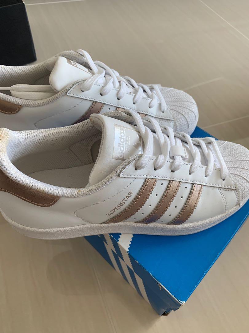 f8da2d3ffc5 Adidas Women Rose Gold White Superstar Sneakers