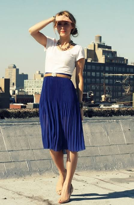359d5a7f55 American Apparel Royal Blue Pleated Skirt, Women's Fashion, Clothes ...