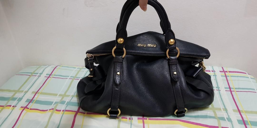 021eb861d093e Authentic Miu Miu Vitello Lux Bow Bag