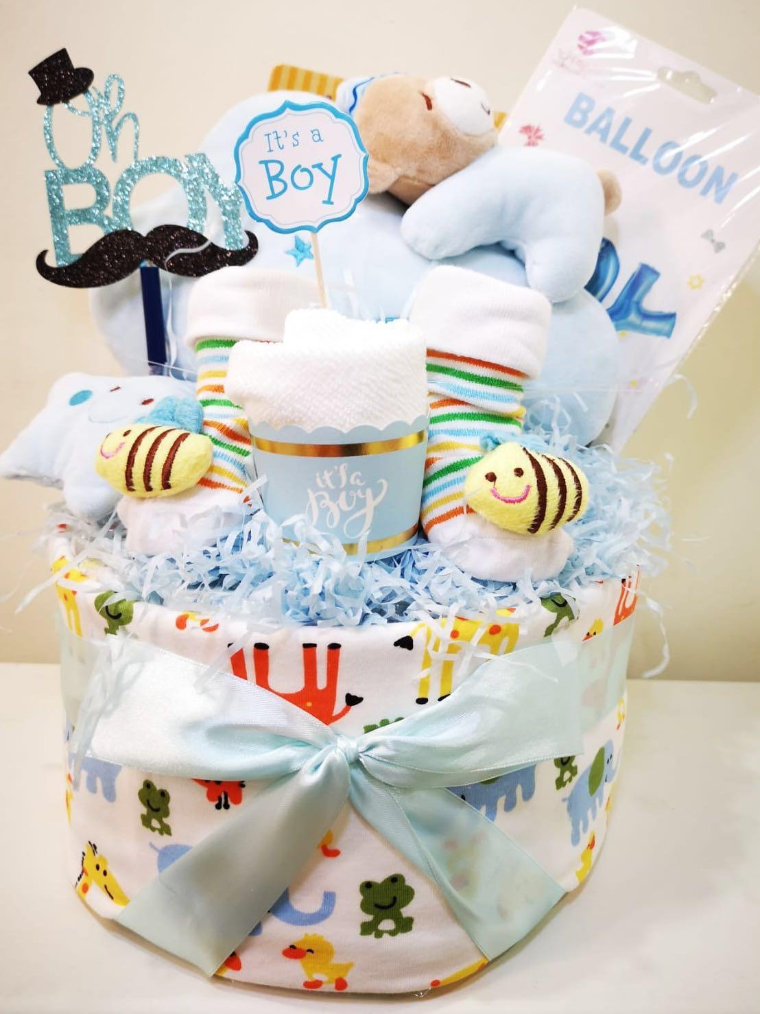a33f3b57322 Baby Boy Hamper Gift - Newborn (One-Tier Diaper Cake)