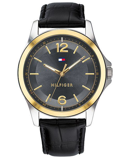 667d94f7a27 Bnew Authentic Tommy Hilfiger Mens Black Leather Strap Watch 42mm ...