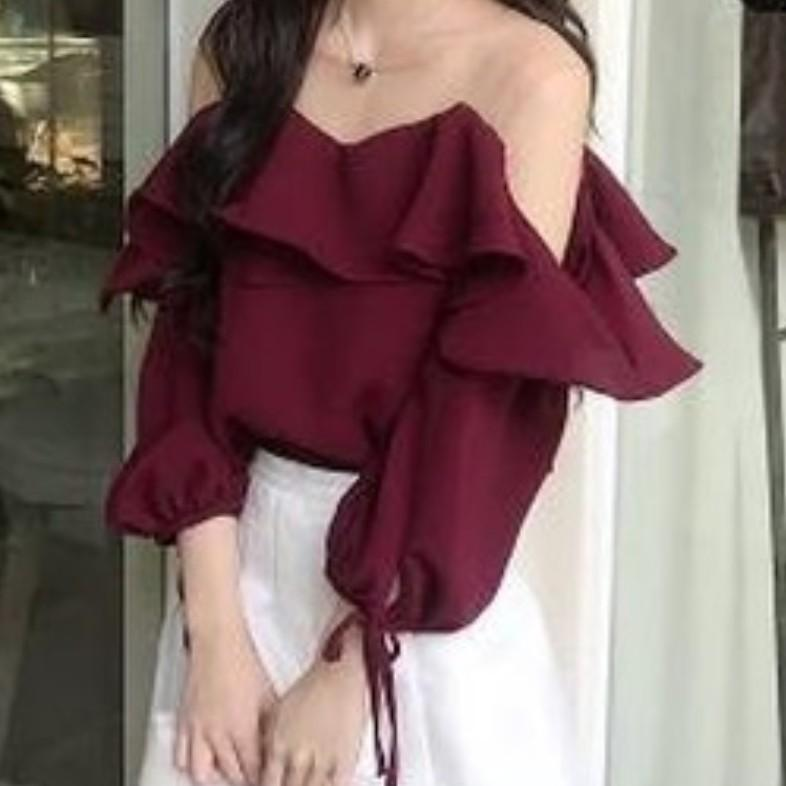 Deep Red Flare Top