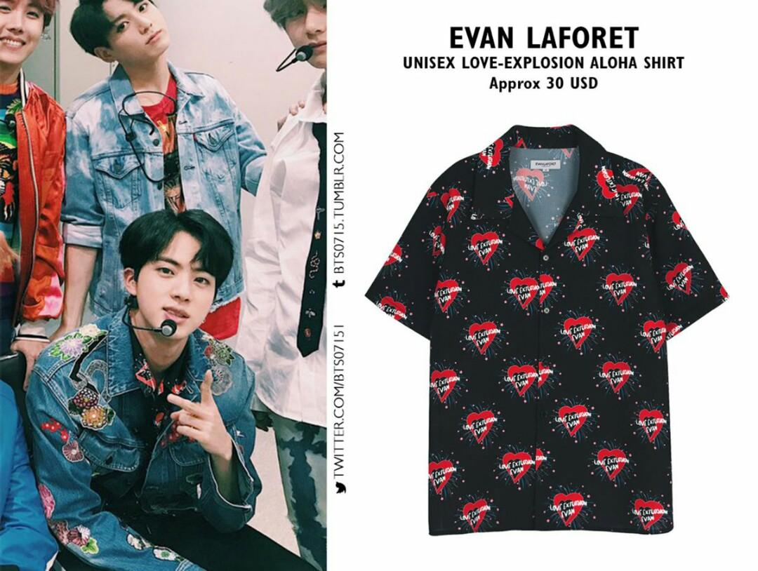 evan laforet love explosion aloha Hawaiian shirt BTS NCT KPOP KOREA k fashion
