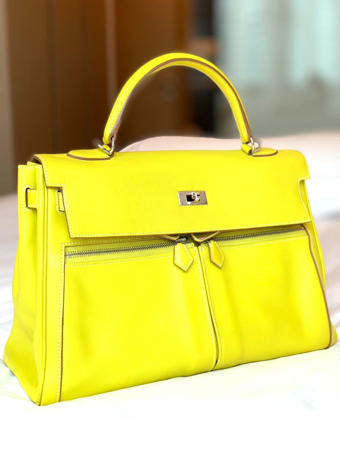 64a7aef5b4 Excellent Hermes Kelly Lakis 35 Lime