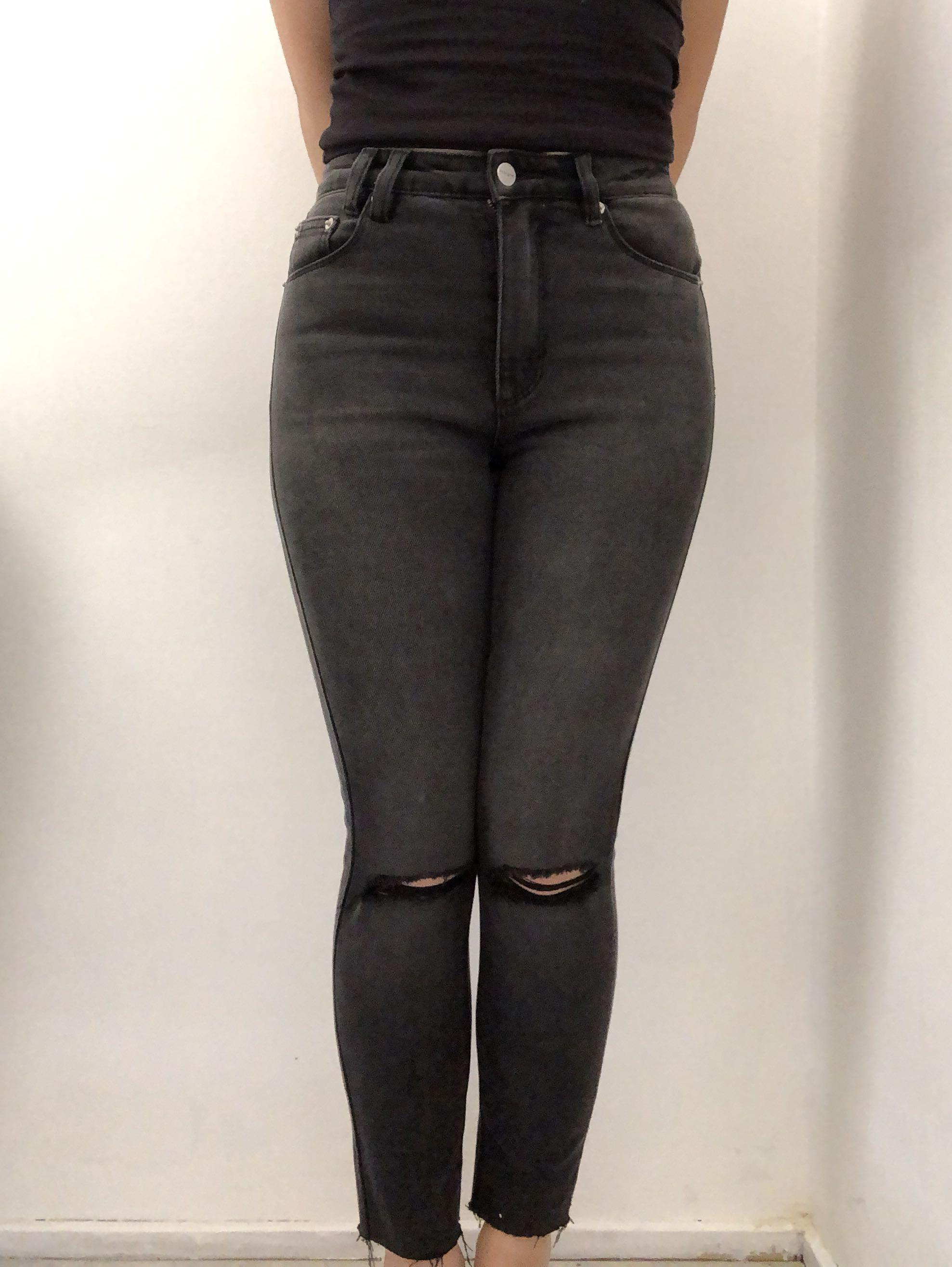 Insight Black Denim Skinny High Waisted Cropped Jeans