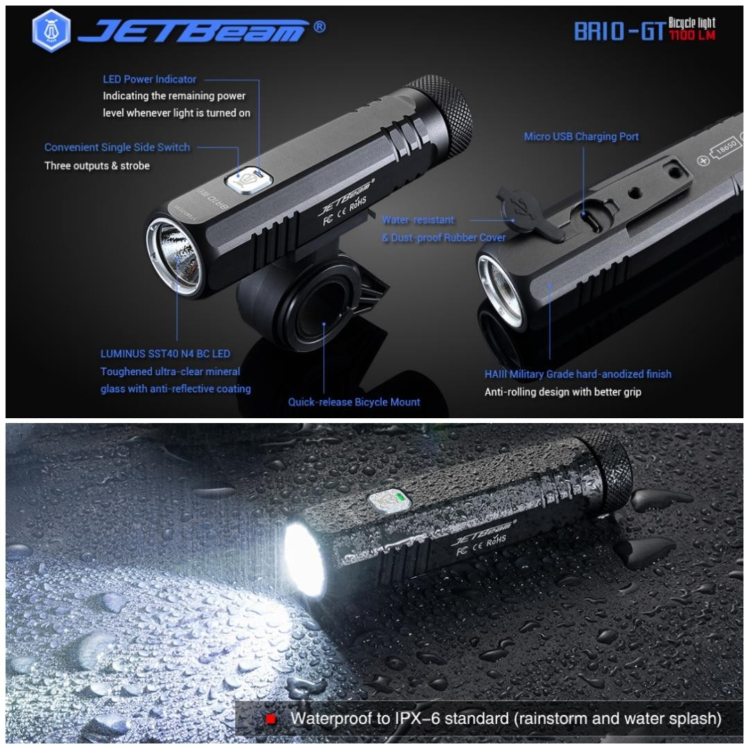 Jetbeam BR10-GT Compact & Lightweight Bicycle Front Light_1,100 Lumens_USB  Rechargeable