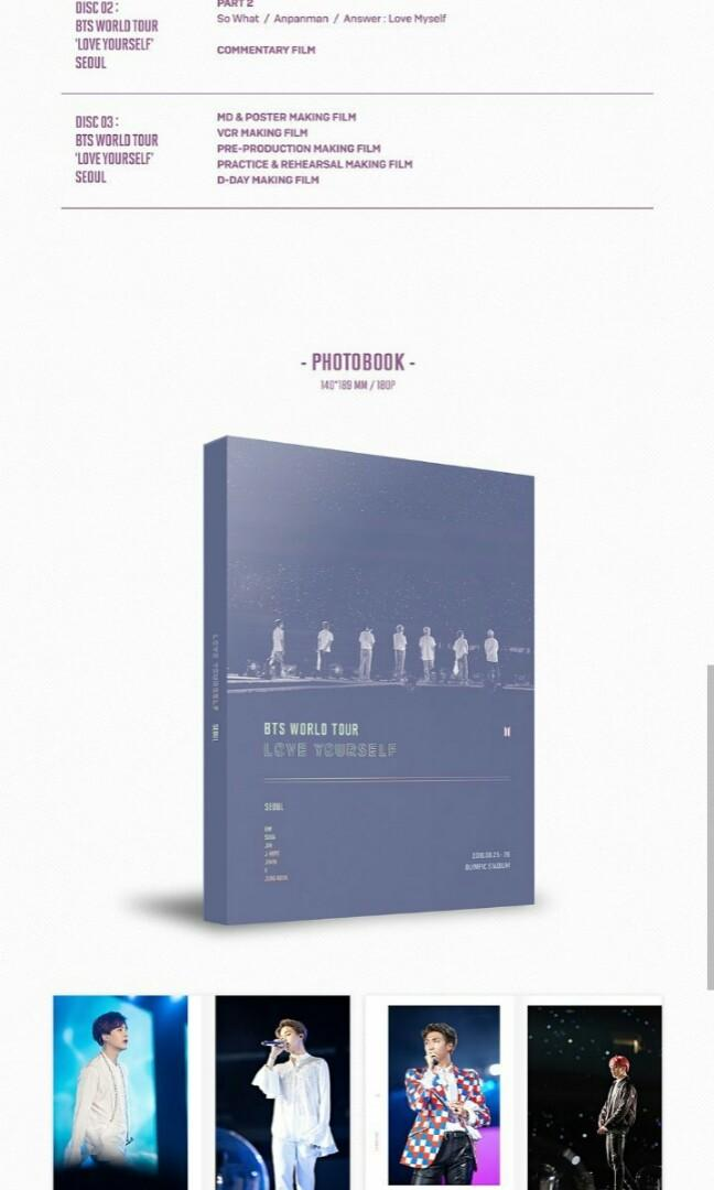 [LOOSE ITEMS & PRE-ORDER] BTS WORLD TOUR SEOUL LOVE YOURSELF DVD