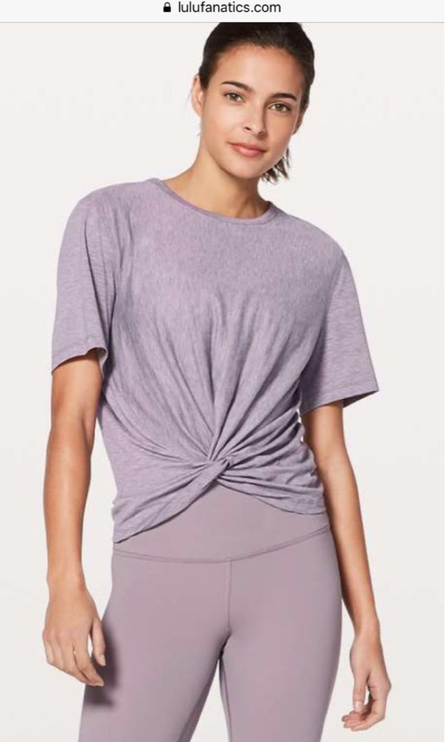 09baa90e30fbb3 Lululemon Crescent Tee  Silver Heathered Dusty Dawn Size 4