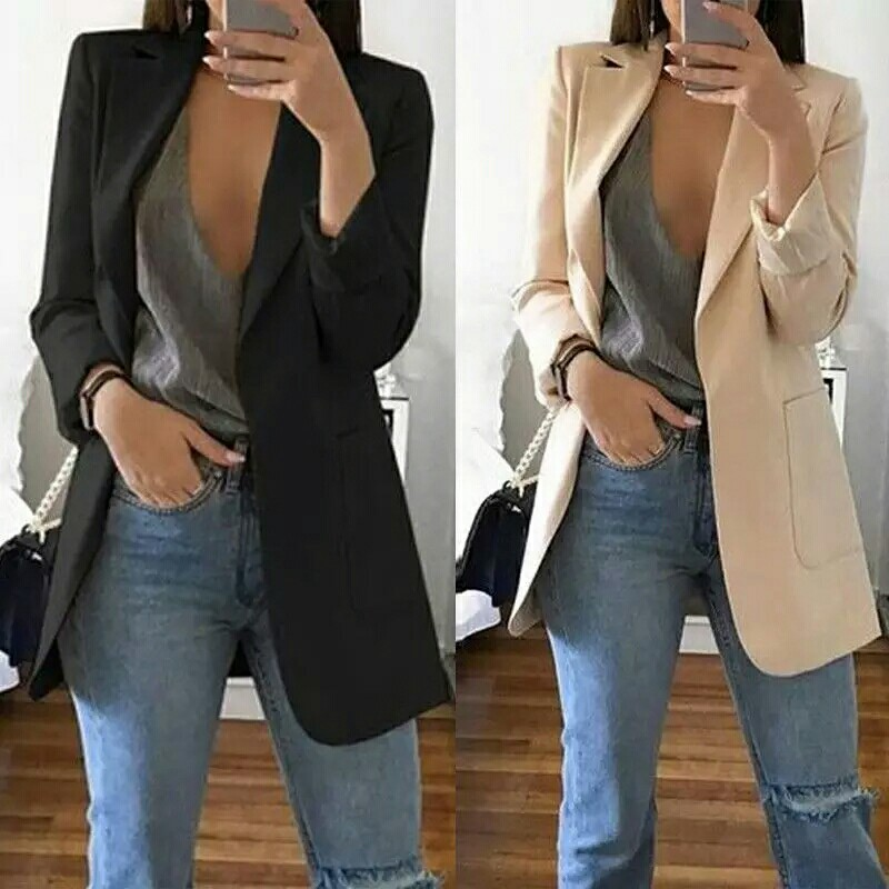 94a8c6df640 New Women s Blazers Spring Autumn Long Sleeve Casual Sexy Lapel Coat ...
