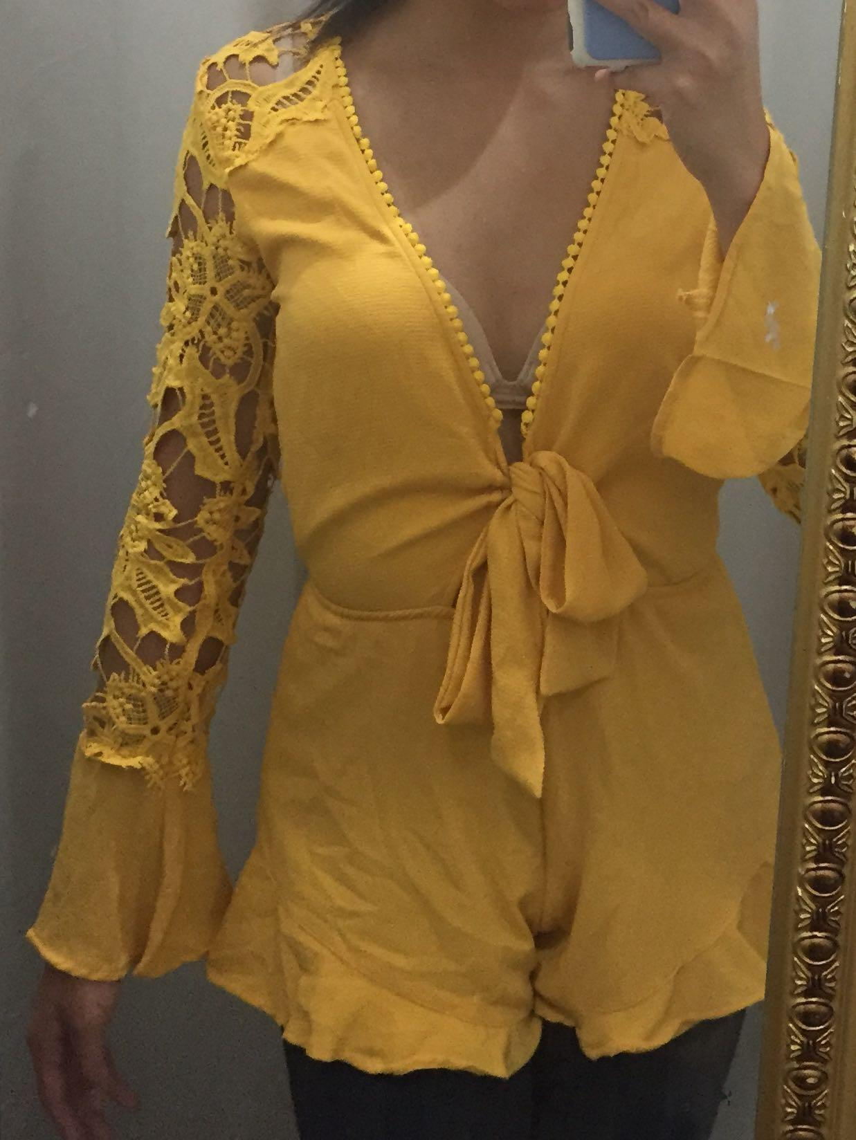 NEW yellow tigermist bell sleeve lace tie up playsuit