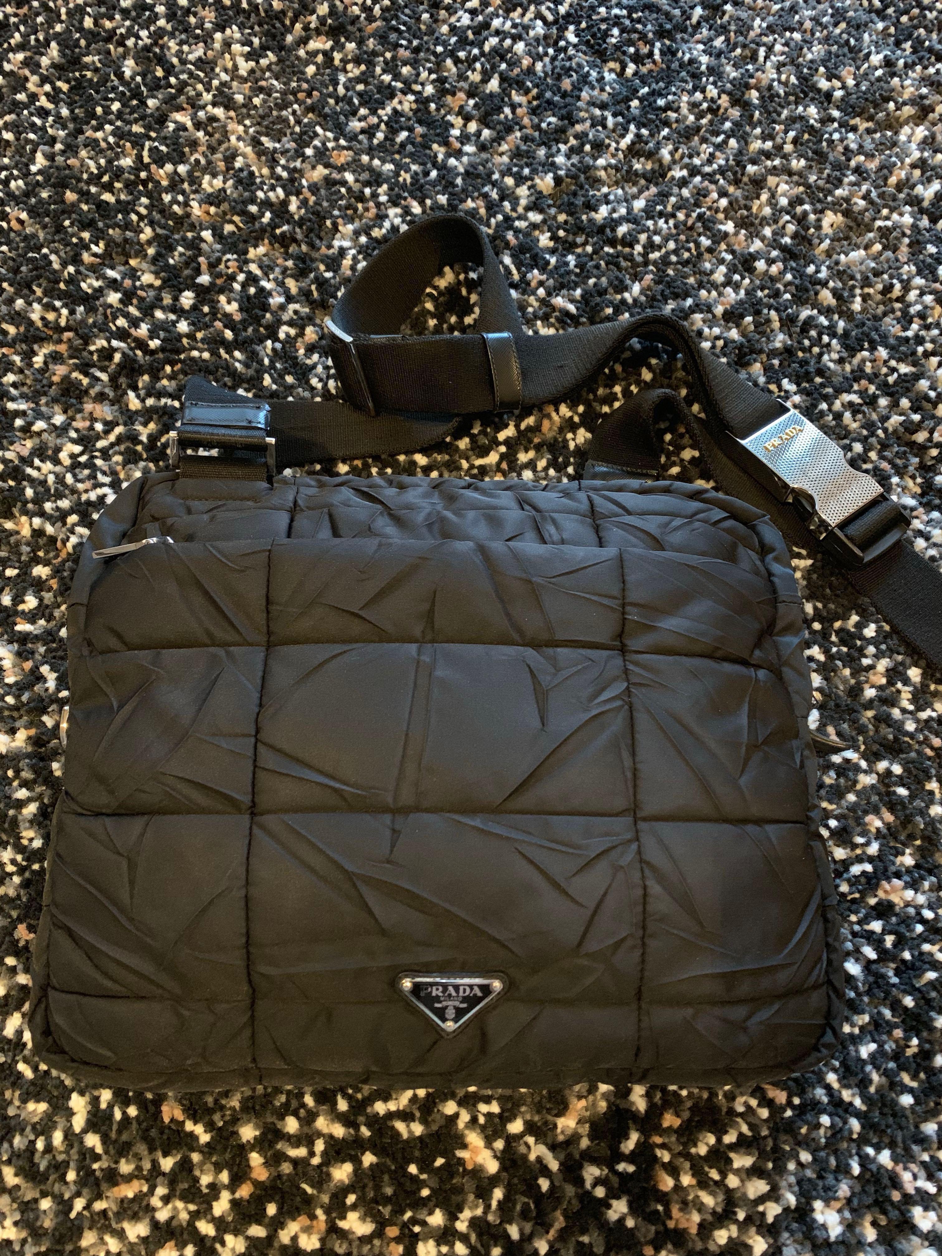 9c4cf1de816e Prada Black Quilted Nylon Messenger Sling Bag, Luxury, Bags ...