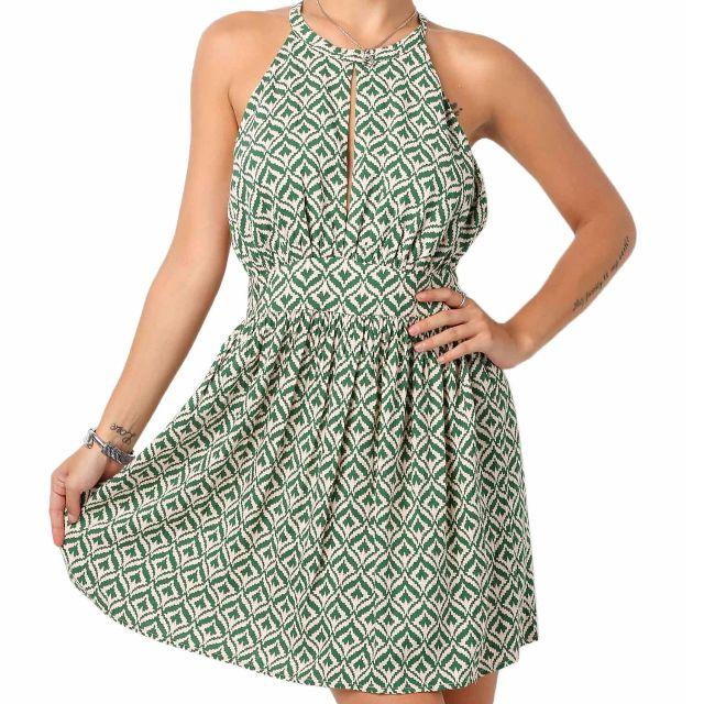 (S/ M)Women Sleeveless Cross Strap Back Print Pleated Mini Casual Dresses