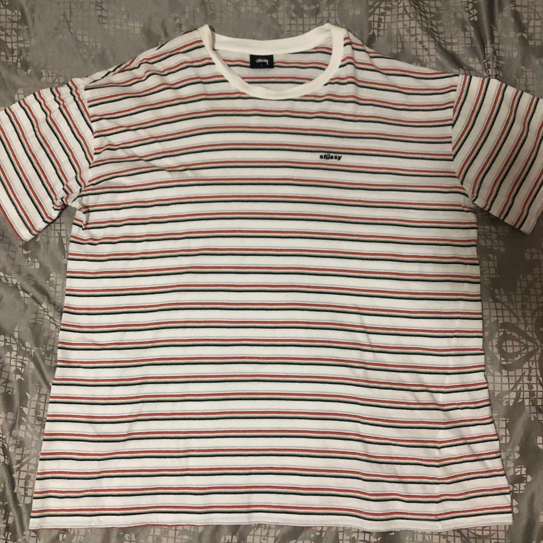Striped Stussy Shirt white