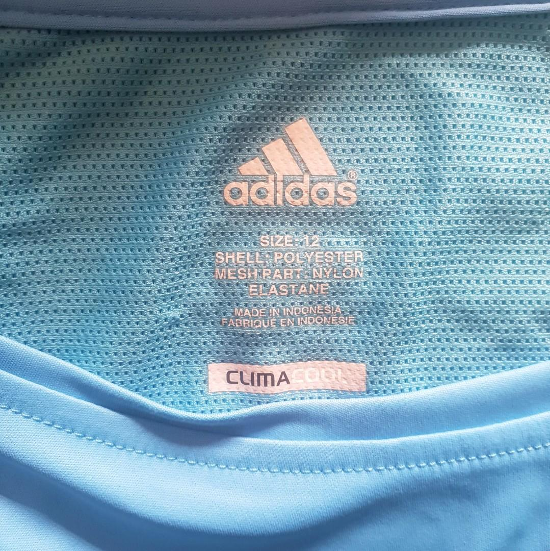 Women's size 12 'ADIDAS' climacool blue athletic wear t shirt - AS NEW
