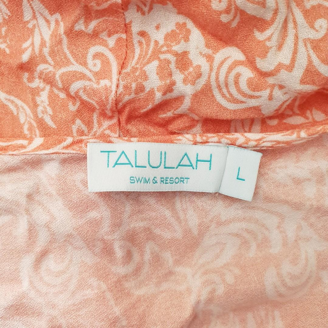 Women's size L 'TALULAH' Gorgeous orange and white damask print playsuit- AS NEW