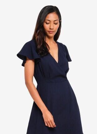 ZALORA BASICS Basic Short Sleeves Wrap Dress