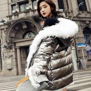 NEW Style 2019 Woman Waterproof Winter Hooded Jacket White Duck Down Fur Filling Size M Available