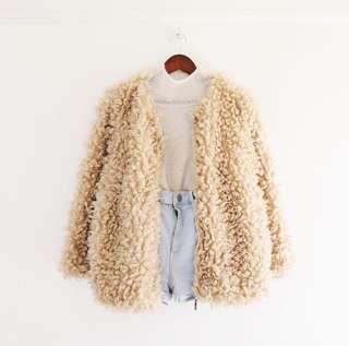 Beige fur jacket - winter/spring jacket