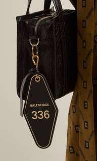 eaab7cfbcf04 ️Balenciaga Leather Diamond Hotel Room Key Chain Bag Charm Black Ghw