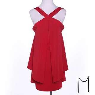 🚚 紅色短洋裝