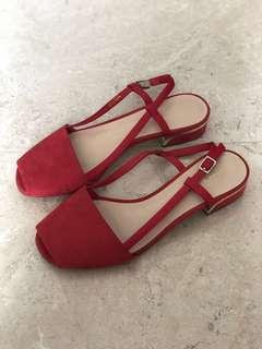 Charles & Keith Red Flats Sandal Size:36