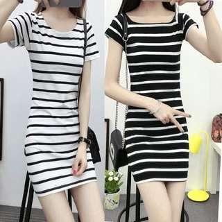 黑白間條連身裙