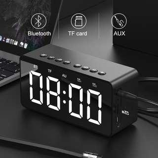 Clock with Alarm Clock Bluetooth Speaker Mini Mirror Gift Card Heavy Subwoofer Small Audio Built-in Microphone Speaker