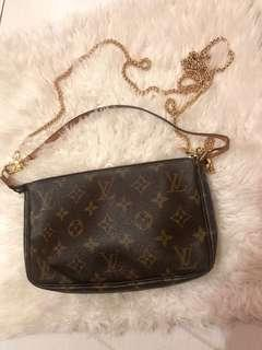 Authentic Louis Vuitton Pochette with extra gold chain