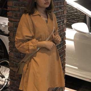 韓韓ㄉ土橘色洋裝