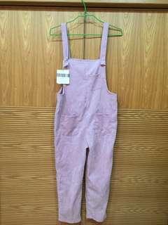 粉紅燈芯絨吊帶褲/連身褲