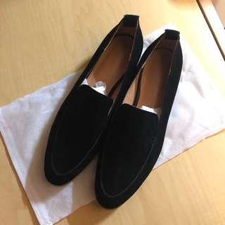 全新 女裝 黑色絨布面 尖頭鞋 平底鞋 (未著過) black flannel flat shoes OL鞋