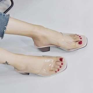 Korea Style women casual high heel jelly shoes slip on