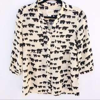 Anthropologie Maeve Bear Print Shirt