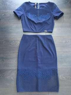 ASOS crop top and skirt set - Navy blue