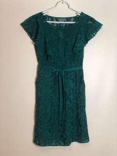 Anthropologie - Moulinette Soeurs Teal Flutter Sleeve Scrollwork Dress