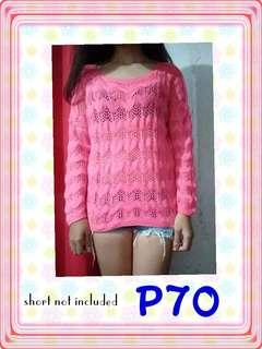 pink knitted see through long sleeve