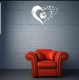 DIY home modern 3D Mirror Wall Clock Love Sticker