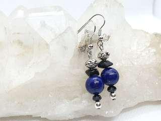 Lapiz Lazuli with Onyx chip Earrings