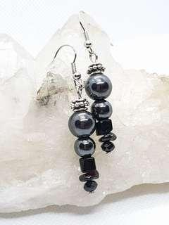 Hematite Onyx with Garnet Earrings