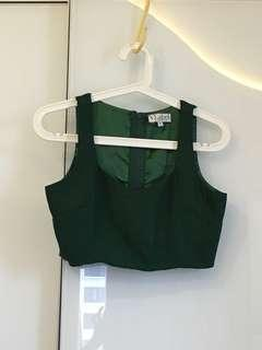 V Label London Glitter Party Green Crop Top