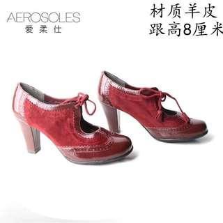 二手]aerosoles美國37達芙妮代理紅色高跟鞋粗跟好走牛津鞋