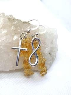 Citrine with Cross and Infinity Charms