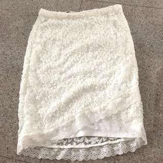 Temt lace mid zip skirt