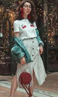 Pull and bear polkadot skirt with button