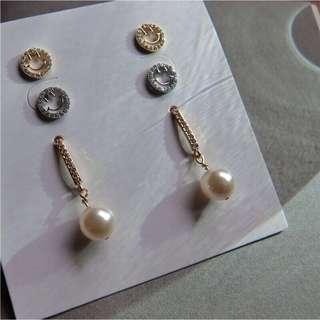 現貨 925銀針微笑&珍珠帶鑽耳環